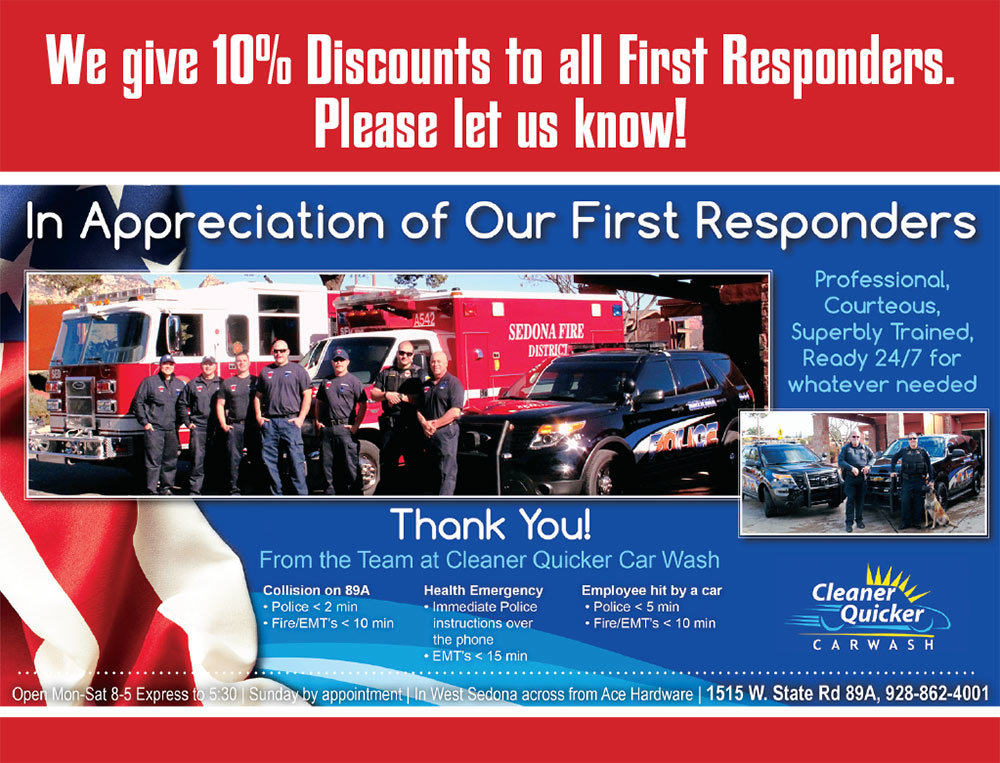 At Cleaner Quicker Car Wash in Sedona AZ, we give 10% discounts to all First Responders