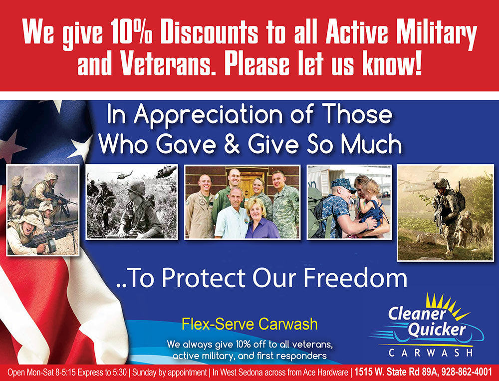 At Cleaner Quicker Car Wash in Sedona AZ, we give 10% discounts to veterens and active military personnel.