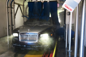 High-end vehicles like this Rolls-Royce exit the tunnel scratch free thanks to foam wash material